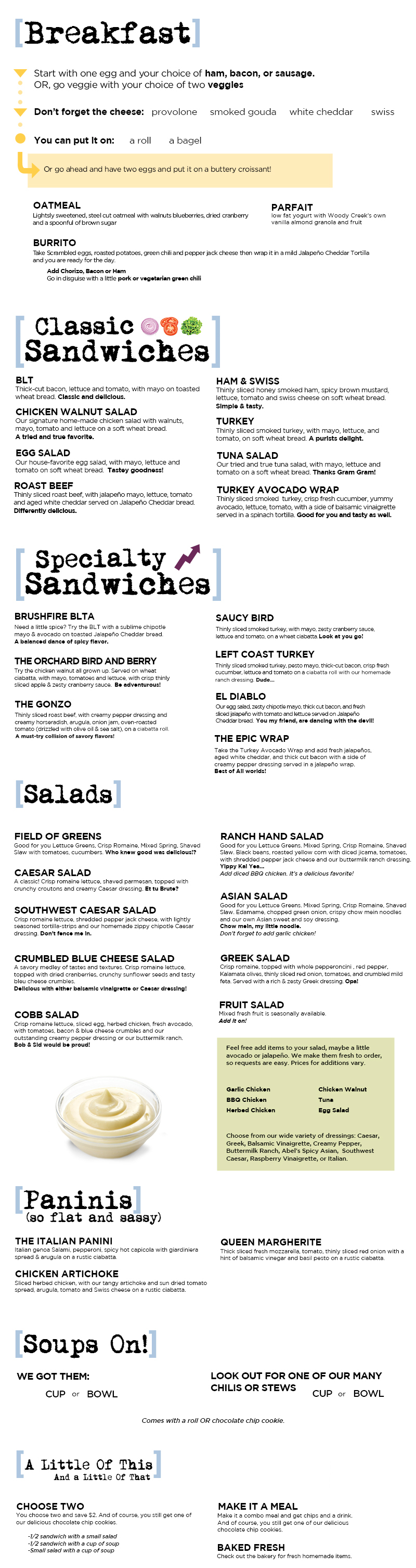 image relating to Corner Bakery Printable Menu titled Woody Creek Bakery Restaurant: Sandwiches, Soups Salads, and